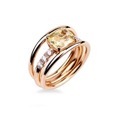 Yellow Sapphire Rings, Pink Diamond Ring, I Love Jewelry, Jewelry Design, Pink And Gold, Rose Gold, Or Rose, Gemstone Rings, Things To Come