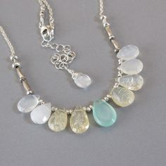 Opal Chrysoprase Briolette Solid 925 Sterling Silver Chain Bead Necklace
