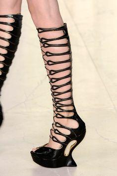 Alexander McQueen. Cut-out, strap, knee high, gladiator, open toe, platform