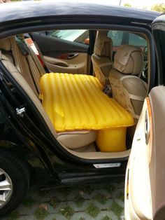 Backseat Air Mattresses For Cars - http://www.FancyGiving.com - Living out of your car has never looked so comfortable and luxurious as it does now thanks to the inflatable car bed! Able to be set up in seconds, the inflatable car bed is perfect for road trips, or just for living in a van down by the river after you've lost everything.