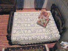 Miniature Dollhouse Fine Crochet Bed Cover Bedspread 1 12 IGMA Artisan OOAK | eBay