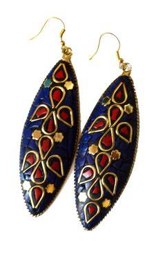 Turquoise lapis Earrings,Ethnic Silver,Boho,Nepal Jewelry,Tribal ...