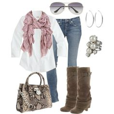 White button-up with a fluffy scarf.