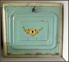 vintage tin bread boxes   picked up this vintage bread box at an auction. The color was ...