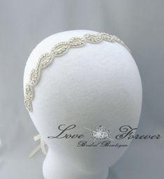 Infinity Symbol Wedding Headband, Crystal Rhinestone Bridal Headpiece, Satin Ribbon Bride Headband on Etsy, $45.00