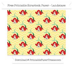 FreePastel Yellow Chevron Large Ariel Pattern Paper - The Little Mermaid