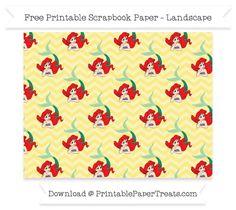FreePastel Yellow Chevron Large Ariel Pattern Paper - The Little Mermaid