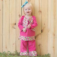 Hot Pink Corduroy Dot Faux Vest Ruffle pants Set 9/17