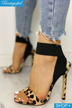 2bc3b37312d Leopard Single Strap Elastic Bandage Sandals Fab Shoes