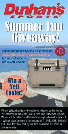 Follow and Win a Yeti cooler! Now thru 6/30/15