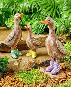 Set Of French Ducks In Rain Boots Ceramic Wood Look Traditional Lawn U0026 Yard  Decor