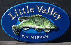 Little Valley Property Sign / Danthonia Designs Property Signs, Fish Artwork, Lake House Signs, Fishing Signs, Fish Farming, Sign Display, Home Signs, Signage, Carving