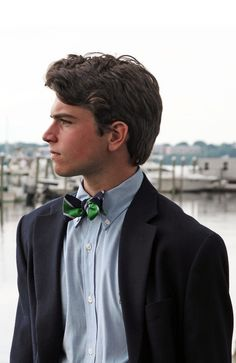 preppy: navy blazer + blue shirt, classic navy + hunter silk tie