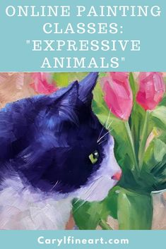 "Try this online painting class to work on painting the ""expressive animal"" in your life! With the step-by-step tutorials in this course, you'll be guided through learning to paint with acrylics and be inspired to create a beautiful, bold, and bright painting! Bright Paintings, Your Paintings, Animal Paintings, Acrylic Painting Tutorials, Painting Techniques, Online Painting Classes, Painting Workshop, Learn To Paint, Abstract Expressionism"