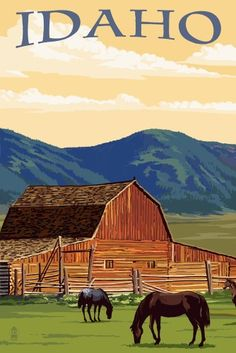 Idaho - Horses & Barn - Lantern Press Artwork (16x24 Gallery Quality Metal Art), Multi
