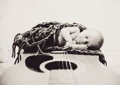 #newborn #guitar #baby   photo by : Love Roots Photography