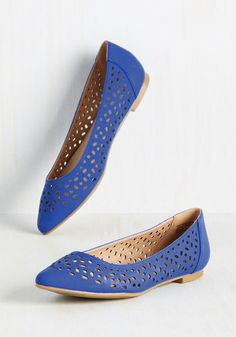 Present your architectural blueprints with professional panache in these sapphire flats from Restricted! Embellished with geometric cutouts, this leather-lined pair puts a skip of inspiration in your step as you take the podium.
