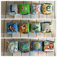 Another sweet set of custom, personalized handmade soft stuffed blocks
