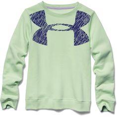 Under Armour Girl's Rival Graphic Crew (Minty) - Goal Kick Soccer - 1 Soccer Shop, Kids Wardrobe, Under Armour Girls, Lace Sweatshirt, Girl Running, Girls Leggings, Jean Shirts, Discount Shopping, Crew Sweatshirts