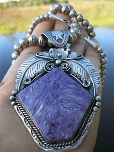 Native American Lavendar Russian CHAROITE Old Pawn Necklace and Slide Pendant