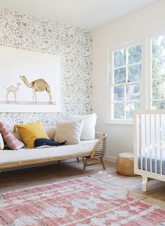 Beautiful boho style nursery for a little girl..love the camel print