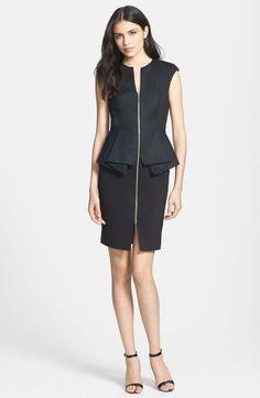Ted Baker London Structured Peplum Cotton Blend Sheath Dress
