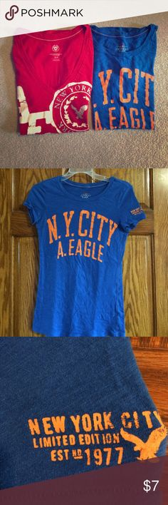 American Eagle Graphic Tee Bundle Selling two American eagle graphic tees and one is even a limited edition tee. Hardly worn these shirts are in great condition. American Eagle Outfitters Tops Tees - Short Sleeve