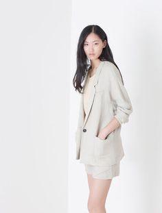 Oversize panama linen blazer