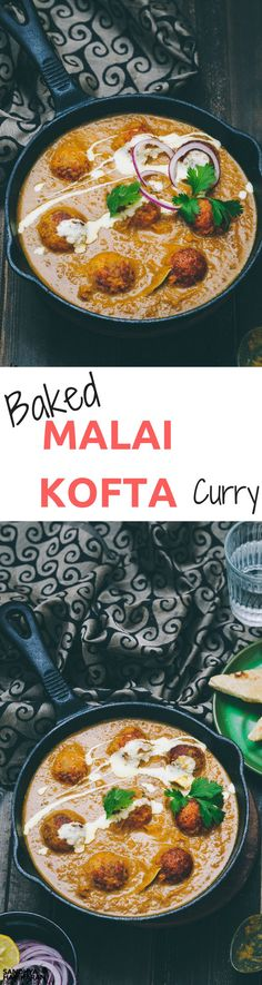 MALAI KOFTA is a Mughlai Speciality dish made with Deep fried Potato Paneer Balls simmered in Spiced Onion Tomato Gravy. Whilst cooking for a larger numbers, I chose to bake the kofta's.