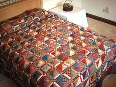 Homespun Squares Quilt -- splendid smartly made Amish Quilts from Lancaster Amish Quilts, Scrappy Quilts, Country Quilts, Patchwork Quilting, Lancaster, Amish House, Charm Square Quilt, Plaid Quilt, Homemade Quilts