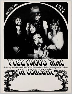Rare Mini Print/Poster - Size: A4 (Approximately: 21 cm x 29.7 cm) 8.27 inches x 11.7 inches. Fleetwood Mac, Concert Posters, Poster Prints, The Unit, Tours, Mini, Gig Poster