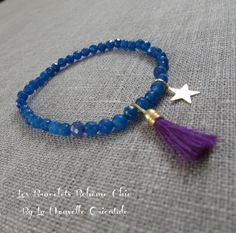 bracelet délicat Bohème Chic perles pierres semi-précieuses couleur bleu et pompon homemade violet : Bracelet par may-boheme