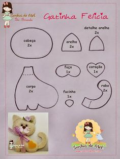 Purring Kitten ~ via: Sonhos de Mel She kindly shares patterns for all her sweet felt creations with a free Printable. Cat Crafts, Sewing Crafts, Sewing Projects, Fabric Toys, Felt Fabric, Felt Patterns, Craft Patterns, Baby Mobile, Felt Cat