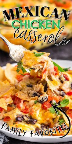 Mexican Chicken Casserole, Mexican Chicken Recipes, Baked Chicken Recipes, Mexican Dishes With Chicken, Healthy Mexican Casserole, Entree Recipes, Appetizer Recipes, Cooking Recipes, Fun Recipes