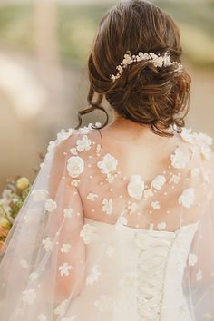 Obsess Over These 15 Unique Wedding Veil Alternatives - Cathedral wedding cape with fabric flowers and pearls as an elegant bridal veil alternative - Simple Wedding Gowns, Wedding Hair Flowers, Wedding Veils, Wedding Cape Veil, Floral Wedding, Wedding Dresses, Wedding Bouquets, Bridal Cape, Bridal Crown