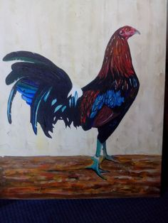 Oleo Pintura De Gallos De Pelea - $ 900.00 en Mercado Libre