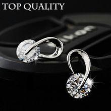 áustria cz diamante clássico casamento elegante prateado marca de moda zircon cristal brincos jóias 2014 para as mulheres(China (Mainland))
