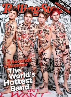 Rolling Stone magazine has unveiled its first edition of 2016, and the boys from 5 Seconds of Summer have stripped down for the front cover honors. | 5 Seconds Of Summer Are Naked On The New Issue Of Rolling Stone - BuzzFeed News