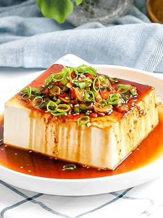 This easy vegan silken tofu can be served hot or cold with a savory Korean soy sauce flavored with green onions, peppers, sesame oil, and red pepper flakes (gochugaru). It's easy, vegan, and ready in 5 minutes! Best Vegetarian Recipes, Best Breakfast Recipes, Tofu Recipes, Brunch Recipes, Fall Dinner Recipes, Dinner Ideas, Dinner With Ground Beef, Healthy Comfort Food, Eating Raw