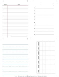 Free Journaling Cards. Set Includes 10-Things List, an Any-Month Calendar Card, Lined Writing Paper, and a Memo Sheet.