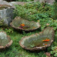 Hand-Cast Rhubarb Birdbath