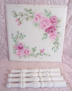 ROMANTIC ROSE ACCENT TABLE hp chic shabby vintage cottage hand painted pink  #VINTAGETABLE #COTTAGECHIC