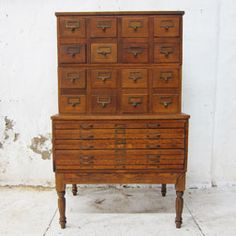 Oak Library Card File Cabinet