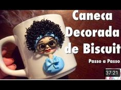 Caneca Decorada de Biscuit .. - YouTube Fimo Clay, Polymer Clay Crafts, Mug Decorating, Clay Mugs, Ceramic Flowers, Pasta Flexible, Clay Art, Biscuits, Tableware