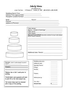 Cake Order Form DOC cakepins.com: