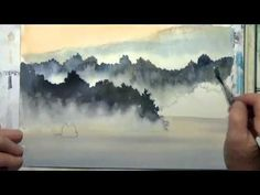 Easy step by step watercolor tutorial: Blue Ridge Mountains (updated) - YouTube