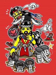 Tezcatlipoca and Tlazolteotl by nosuku-k on DeviantArt Aztec Emperor, Aztec Art, I Really Love You, Japanese Words, Japanese Language, Funny Art, Central America, Anime Art, Deviantart