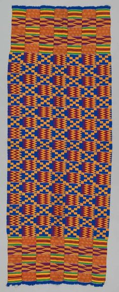Africa | A Kente Shoulder Cloth from the Asante people of Ghana | ca. 1970 | 184cm x 66cm | Raylon