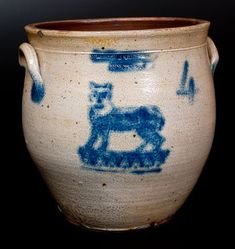Extremely Rare Four Gallon Stoneware Jar With Stenciled Cobalt Cat Decoration Stamped