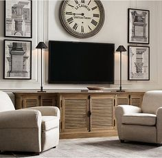 Shutter Media Console | Restoration Hardware | Living Room